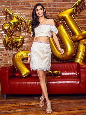 TS couture® 칵테일 파티 드레스 - 레이스 두 가지 칼집 / 열 오프 - 더 - 어깨 짧은 / 미니 레이스