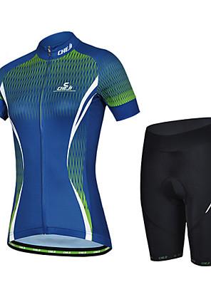 CHEJI® Camisa com Shorts para Ciclismo Mulheres Manga Curta MotoRespirável / Secagem Rápida / Resistente Raios Ultravioleta / Materiais