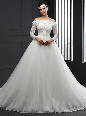 볼 드레스 웨딩 드레스 채플 트레인 끈없는 스타일 튤 와 아플리케
