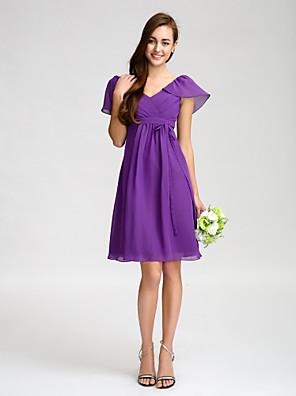 Lanting Bride® באורך  הברך שיפון שמלה לשושבינה - מעטפת \ עמוד צווארון וי עם פפיון(ים) / סרט / בד נשפך בצד / בד בהצלבה