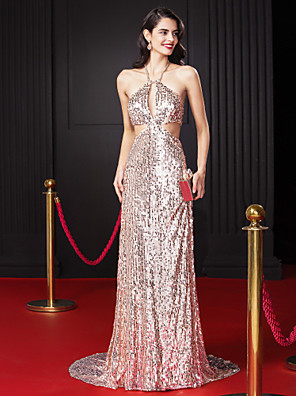 TS Couture® Formal Evening Dress Sheath / Column Halter Sweep / Brush Train Sequined with Beading / Sequins