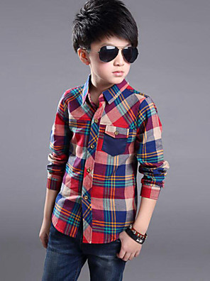 Boy's Cotton Shirt,Spring / Fall Check