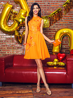 TS Couture® Cocktail Party / Company Party Dress A-line Jewel Knee-length Chiffon with Appliques