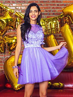 TS couture® 칵테일 파티 / 기업 파티 구슬 / 활과 줄 BATEAU의 짧은 / 미니 얇은 명주 그물 드레스 (들)