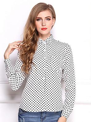 מנוקד צווארון חולצה פשוטה / סגנון רחוב עבודה חולצה נשים,קיץ שרוול ארוך לבן / שחור דק פוליאסטר