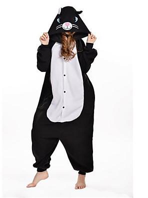 Kigurumi Pyjama  nieuwe Cosplay® / Kat Gympak/Onesie Festival/Feestdagen Animal Nachtkleding Halloween Zwart Patchwork Fleece Kigurumi