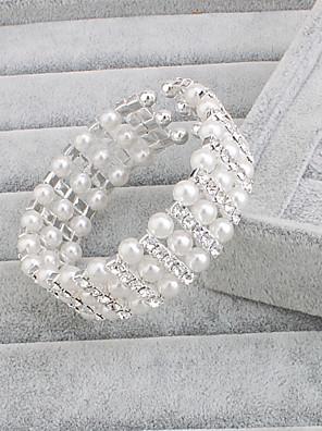 Dame Sølv / Perle Lyserød Tråd Armbånd Perle Lyserød