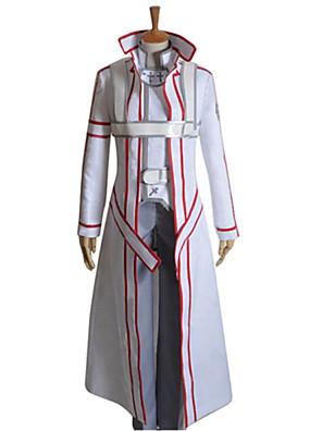 קיבל השראה מ Sword Art Online Kirito אנימה תחפושות קוספליי חליפות קוספליי טלאים לבן שרוולים ארוכיםגלימה / מעיל / מכנסיים / כפפות / חגורה