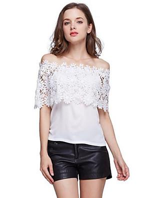Tee-shirt Aux femmes,Mosaïque Décontracté / Quotidien Sexy / simple Eté Manches Courtes Bateau Blanc Polyester Moyen
