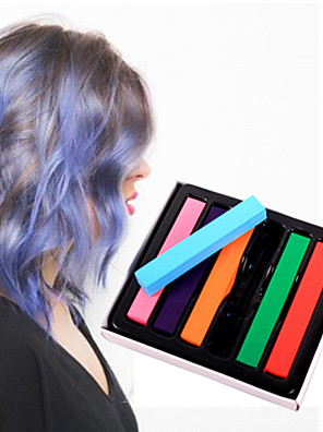 6 Color Temporary Chalk Crayons for Hair Non-toxic Hair Dye Pastels Stick DIY Styling Tools