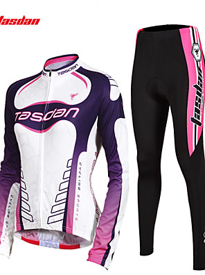 TASDAN® חולצה וטייץ לרכיבה לנשים שרוול ארוך אופניים נושם / ייבוש מהיר / תומך זיעה / 3D לוח / רצועות מחזירי אור / כיס אחוריטייץ רכיבה על