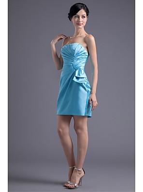 Lanting Bride® קצר \ מיני סאטן נמתח שמלה לשושבינה  בתולת ים \ חצוצרה סטרפלס עם בד נשפך בצד