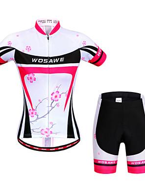 Wosawe® Camisa com Shorts para Ciclismo Mulheres Manga Curta MotoRespirável / Secagem Rápida / Design Anatômico / Antibacteriano /