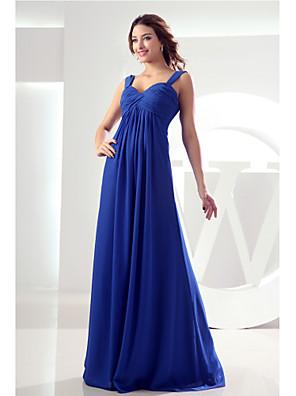 Floor-length Chiffon Bridesmaid Dress Sheath / Column V-neck with Side Draping