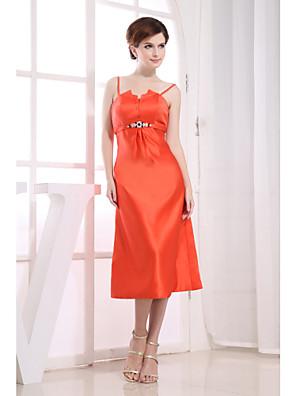 Cocktail Party Dress Sheath / Column Spaghetti Straps Tea-length Satin with Crystal Detailing / Draping / Sash / Ribbon