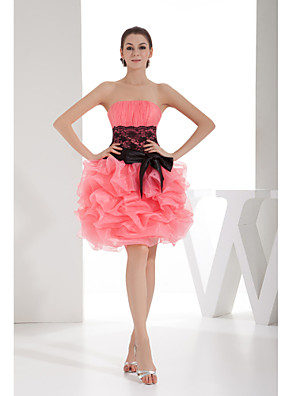 Cocktail Party Dress A-line Strapless Short / Mini Lace / Organza with Pick Up Skirt / Sash / Ribbon