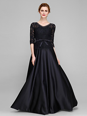 A-line Mother of the Bride Dress Floor-length Half Sleeve Lace / Satin with Bow(s) / Lace