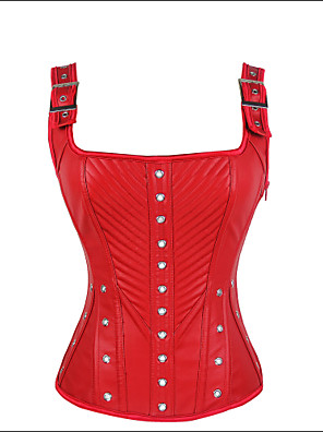 Burvogue Women's Red PU Leather Overbust Corset Zipper Bustier Tops with Straps