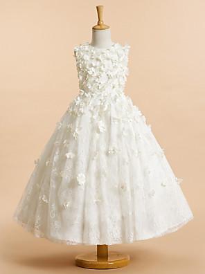Lanting Bride A-Linie K lýtkům Šaty pro květinovou družičku - Tyl Bez rukávů Klenot s Květina(y)