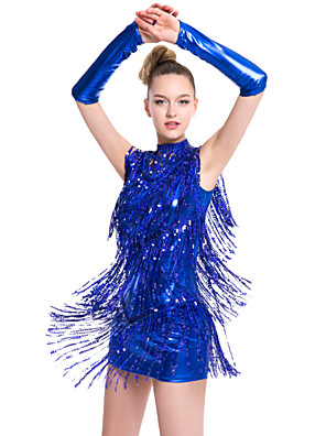 Dança Latina Vestidos Mulheres Actuação Fibra de Leite Borla(s) 1 Peça Sem Mangas Natural Vestidos