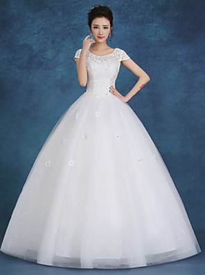 Ball Gown Wedding Dress Floor-length Scoop Lace / Satin / Tulle with Beading / Pearl / Sequin