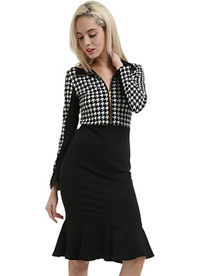 Women's Vintage/Sexy/Party/Work Long Sleeve Knee-length Dress (Cotton Blends)