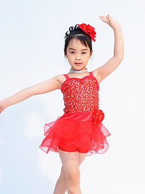 בגדי ריקוד לילדים תלבושות בגדי ריקוד ילדים ביצועים אורגנזה / לייקרה נצנצים בלי שרוולים טבעי