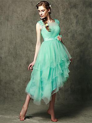 Assimétrico Tule Vestido de Madrinha - Linha A Decote em U com Apliques / Flor(es)
