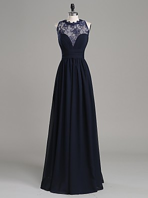 TS Couture® Formal Evening Dress A-line Jewel Floor-length Chiffon / Lace with Appliques / Side Draping