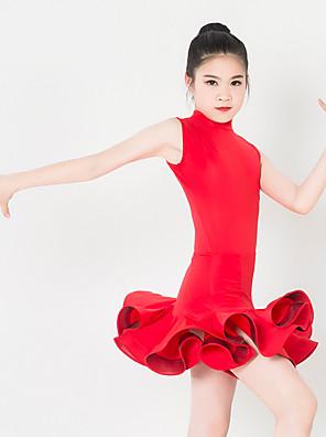 Dětské taneční kostýmy Šaty Dětské Výkon elastan / Polyester Volánky Jeden díl Bez rukávů Šaty XXS:57CM,XS:60CM,S:63CM,L:66CM