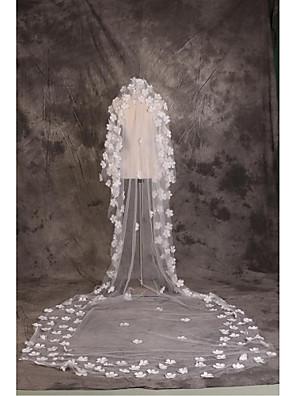 Voiles de Mariée Une couche Voiles cathédrale Bord coupé Tulle Blanc Blanc