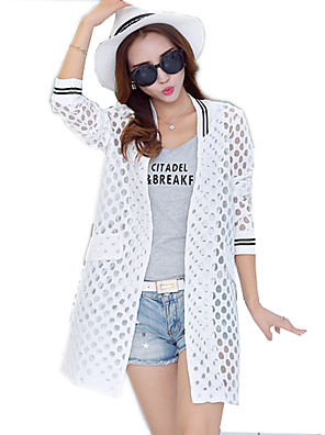 Women's Patchwork White / Black Blouse,Stand ½ Length Sleeve