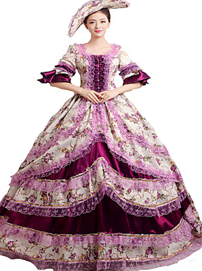 Jednodílné/Šaty Gothic Lolita Steampunk® / Rococo Cosplay Lolita šaty Fialová Retro Dlouhé rukávy Long Length Klobouk Pro DámskéSatén /