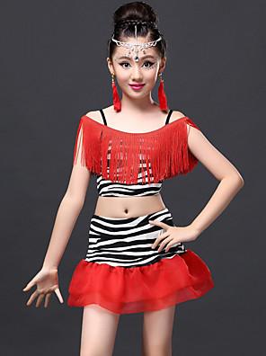 ריקוד לטיני תלבושות בגדי ריקוד ילדים ביצועים מילק פייבר גדיל (ים) 2 חלקים חצאית / עליוןTops length S-XL:28cm Skirt length S-XL:30cm