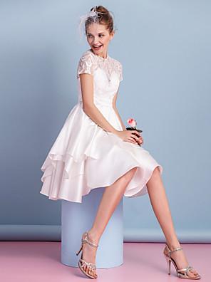 Lanting bruden a-linje brudekjole-kne-lengde høy hals blonder / charmeuse