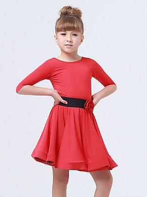 בגדי ריקוד לילדים שמלות בגדי ריקוד ילדים ביצועים ספנדקס / פוליאסטר פרח (ים) / קפלים / אבנט / סרט 2 חלקים חצי שרוול שמלות / חגורה