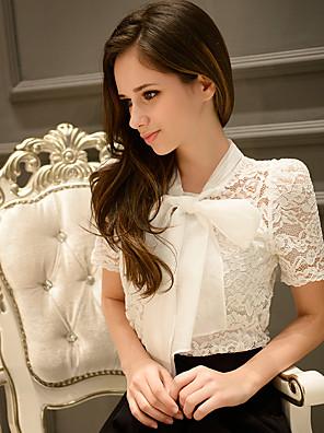 Women's Solid White Shirt,Bow Short Sleeve