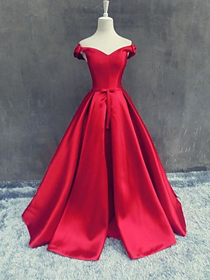 Formal Evening Dress A-line Off-the-shoulder Floor-length Satin with Bow(s)