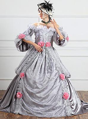 /שמלותחתיכה אחת לוליטה גותי Steampunk® / ויקטוריאני Cosplay שמלות לוליטה אפור אחיד 3/4-אורך שרוול ארוך שמלה ל נשיםסאטן / תחרה /