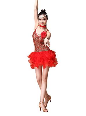 Dança Latina Roupa Mulheres Actuação Poliéster / Lantejoulas Franzido / Lantejoulas 4 Peças Vestidos / Neckwear / Braceletesskirt length
