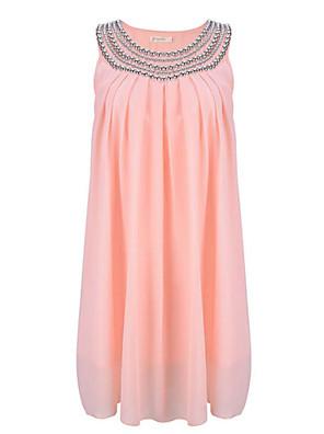 פוליאסטר מעל הברך צווארון עגול אחיד שמלה שיפון סגנון רחוב נשים
