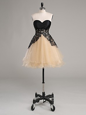 TS couture® 칵테일 파티는 레이스와 줄 끈이 짧은 / 미니 레이스 / 새틴 / 얇은 명주 그물 / 샤무 드레스