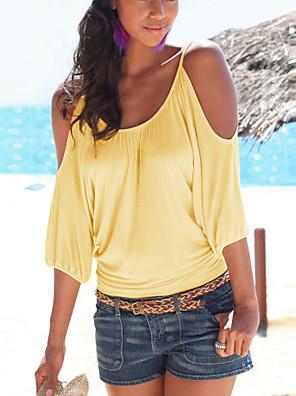 Mulheres Camiseta Casual Sensual Verão,Sólido Amarelo / Roxo Algodão / Poliéster Decote Redondo Meia Manga Fina