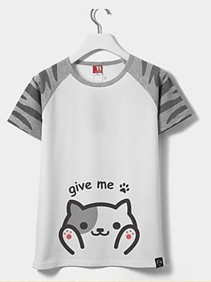 קיבל השראה מ קוספליי חתול אנימה תחפושות קוספליי Cosplay חולצת טריקו דפוס צהוב קצר חולצת טי