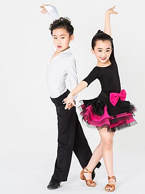 Dětské taneční kostýmy Šaty Dětské Výkon elastan / Polyester Mašle / Volánky Jeden díl Polodlouhé rukávy Šaty