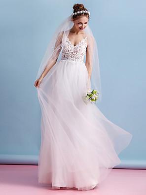 신부 lanting A 라인 웨딩 드레스 층 길이 스파게티 스트랩 레이스 / 얇은 명주 그물