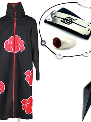 Inspirado por Naruto Itachi Uchiha Anime Fantasias de Cosplay Ternos de Cosplay / Mais Acessórios Estampado Preto Capa / Mais Acessórios