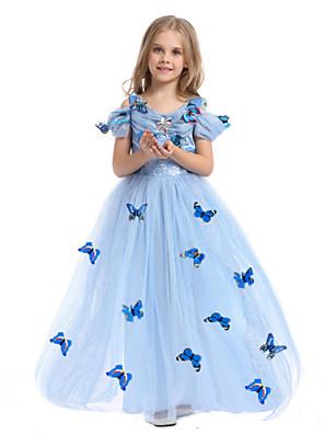 תחפושות קוספליי / תחפושת למסיבה נסיכות / אגדה פסטיבל/חג תחפושות ליל כל הקדושים שמים הכחולים דפוס שמלה / עגילהאלווין (ליל כל הקדושים) / חג