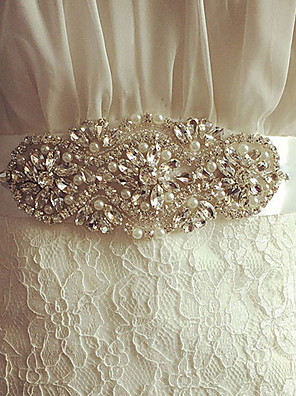 Satijn Huwelijk / Feest/Uitgaan Sjerp-Kristal / Imitatieparel Dames 98 ½ In (250Cm) Kristal / Imitatieparel