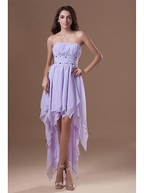 칵테일 파티 드레스 A-라인 끈없는 스타일 비대칭 쉬폰 와 비즈 / 드레이핑